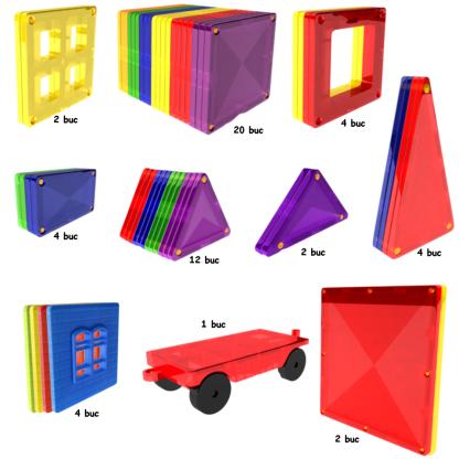 Kit constructie magnetic 57 piese