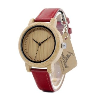 Ceas din bambus Bobo Bird cu curea din piele, J09