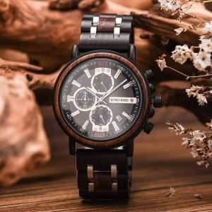 Ceas din lemn Bobo Bird cu curea din lemn, S18