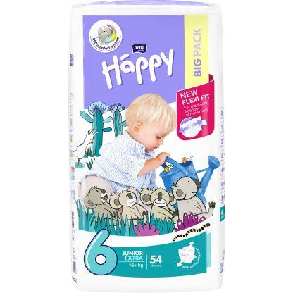 Scutece Happy Junior Extra 6, +16 kg, 54 buc