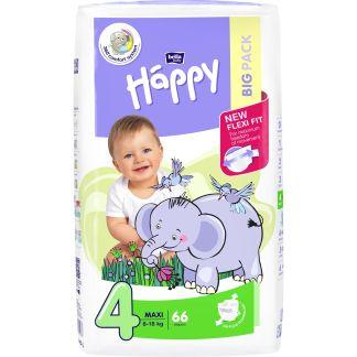 Scutece Happy Maxi 4, 8-18 kg, 66 buc