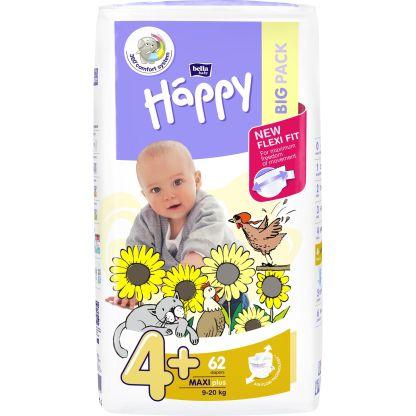 Scutece Happy Maxi Plus 4+, 9-20 kg, 62 buc