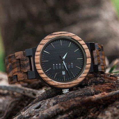 Ceas din lemn Bobo Bird cu curea din lemn O26-2