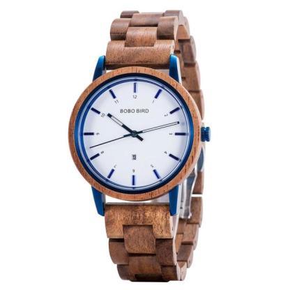 Ceas din lemn Bobo Bird cu curea din lemn GT022