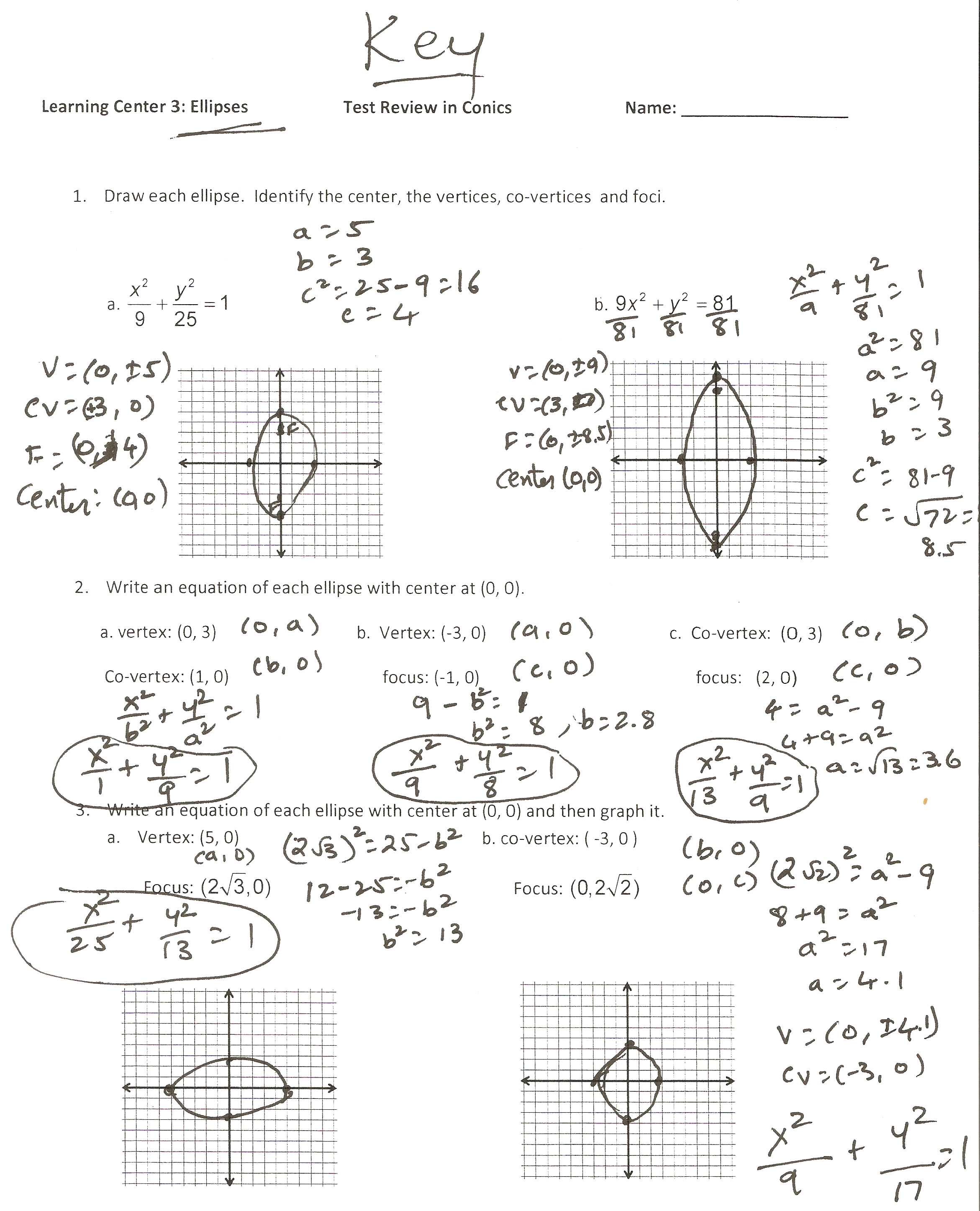 Hyperbolas Worksheet Key