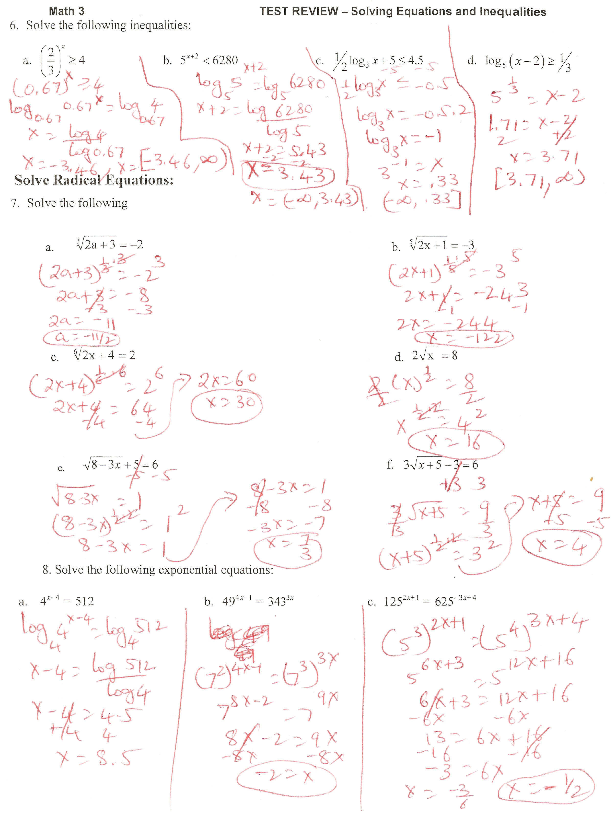 7 4 Solving Logarithmic Equations And Inequalities Answers