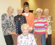 The ladies from left to right are Barbara Potter Arnold, Donna Borseth Romain, Joan Eckert, Paulette Stone, Bonnie Snyder and Ada Bundschuh; missing is Joann Yealey.