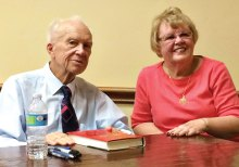 Sergei Khruschev at a book signing with PebbleCreek's Anna Thomas who worked at the Russian Embassy on two occasions.