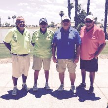 Flight 1 Mixer Tournament, First Place Winners, left to right: Grant Moorhead, Bruce Hulbert, Paul Metivier and George Clark