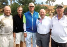 """Hole-in-one winners, left to right: Jim Bundschuh, Jerry Davis, John Stergulz, Chuck """"Gus"""" Gustafson and Jerry Monk"""