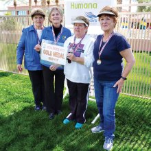 "Gold Medal Winners in the Women's Division are ""Bocce Ladies"" Jan Ruedlin, Muriel Milewski, Carol Gwilt and Faye Ralph."