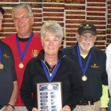 PebbleCreek's winning team, left to right: Jim Pollack, Jerry Duley, Joanne Pollack, Bill Casey and Darwin Puls