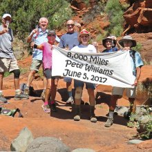 Left to right: Clare Bangs, Roger Sanders, Marilyn Reynolds, Wayne Wills, Pete Williams (photographer), Susan Rudoy and Mark Frumkin pause for a short celebration in Woods Canyon in Sedona.