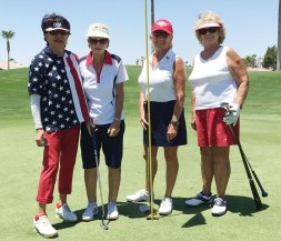 Left to right: Mary Rollins, Ginny Schultz, Tess Braden (tied for low net flight 3), Jeannine Mayone