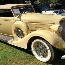 A beautiful 1933 Lincoln LeBaron Roadster, one of many seen at the 45th annual Concours d' Elegance in Forest Grove, Oregon. This show is a highlight of the summer held on the third Sunday of July. Several PebbleCreek Car Club members have had an opportunity to enjoy this show held on the campus of Pacific University.