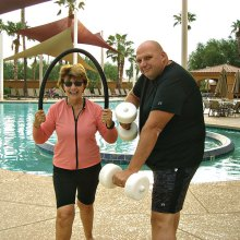 Sue White and Jason Chernosky are the Water Fitness Instructors at the Tuscany Falls Pool. The class is offered five days a week. Effective November 1, the class will start at 8:00 a.m. and be held indoors.
