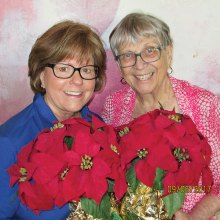 Poinsettia admirers Jan Stash and Barbara Kordel