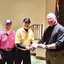 Dave Burkhalter (center) receiving award from Ed Stadjuhar (right) and Howie Tiger.