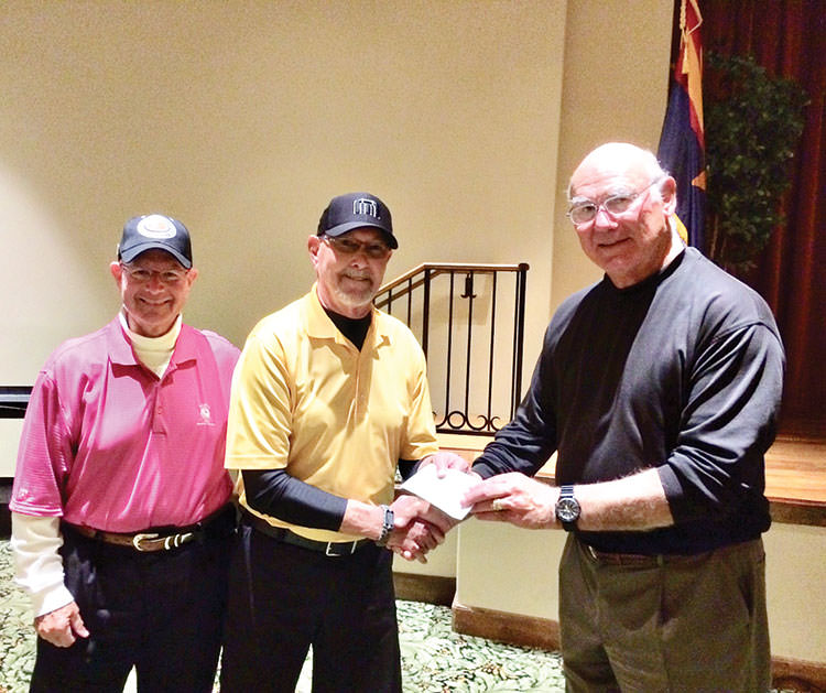 Dave Burkhalter (center) receiving award from Ed Stadjuhar (right) and Howie Tiger.