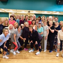 Eight in the morning — up and at 'em Aerobics class at the Fitness Center with instructor, Ann Merrill (front row center).
