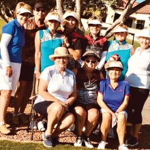The PCLGA players at LASSI Kick-Off, standing (left–right): Sue White, Chris Cook, Kathi Curtis, Judy Newell, Cherrie Pierson, Donna Havener and Barbara Chilton; Seated: Sharon Johnson, Jean Ostroga and Pat DeMatties.