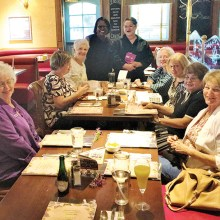 On the right: Judy Peterson, Lucille Thomas, Gloria Kornbluth, Virginia Glenn; Center: excellent server Tina and Emma Mosley; Left: Trudy Johnson, Ronnie Levine, and Penny Schneider.