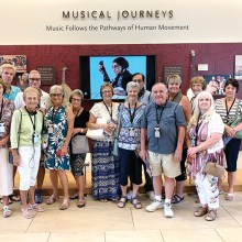The Singles Club recently sponsored a trip to the Musical Instrument Museum in Phoenix which is one of the top ranked museums in the United States. Front row: Sunny Read, Jan Hansen, Betsy Porter, Margarette Rosenthal, Charla Cupit, Frank Rodgers, and Gail Montgomery; Back row: David Johnson, Rick Blatnik, Tisha Johnson, Jerry Ahlers, Nancy Moore, Charlene Decker, Jerry Nuttall, and Bill Ramirez.