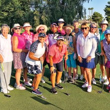 PCLGA tournament participants. Front row (left to right): Cindy Sota, Andrea Dilger, Kathy Hubert-Wyss, Marilyn Reynolds; Back row: Louise Levanti, Carol Sanders, Linda Thompson, Layne Sheridan, Carolyn Suttles, Liz Mitchell, Jane Hee, Mary Falso, Ellen Enright, and Sheri Sears. Not pictured: Donnie Meyers.