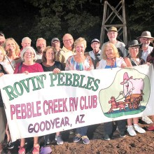 From left: Rose Adams, Dave Kaucheck, Marian Hansen-Kaucheck, Judy Harris, Bob Burwick, Mike Bullard, Susie Nash, Allen King, Jim Stephens, Debbie Stephens, Jeff Harris, Virginia Mouw, Richard Anderson, Cec Roberts, Allan Roberts, and Suzy Burwick. Not pictured: Don and Marcia McCubbin and Chip and Kathy Haynes. Photo on the set of Shepherd of the Hills outdoor drama.