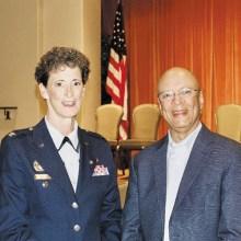 Melissa Kallett, master of ceremonies, and keynote speaker, Michael Swanigan; Photo by Sandy Horvath.