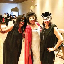Left to right: guest, Chimene Clarks Olynyk; FFF members Valerie Allman and Pam Jackson—all decked out in their latest Masquerade Ball outfits