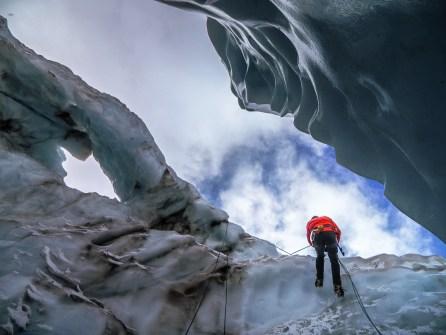 Lowering into a crevasse