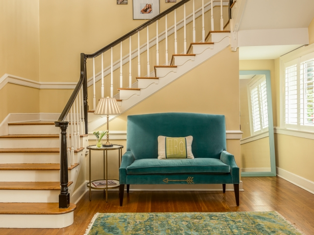 Pi Beta Phi Sorority House 2 entry staircase teal velvet love seat oriental rug Pebbles Nix Interiors
