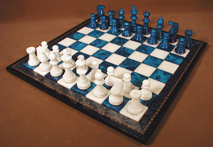 Blue And White Alabaster Chess Sets