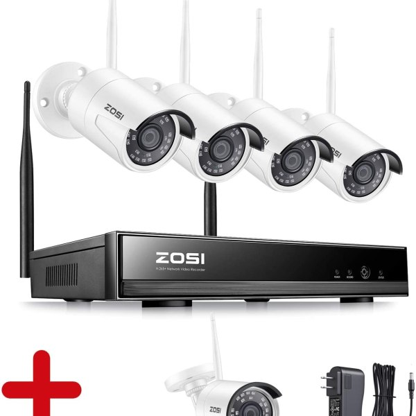 Wireless Security Cameras System H.265+ 8Channel with 5 2.0MP Weatherproof WiFi IP Cameras