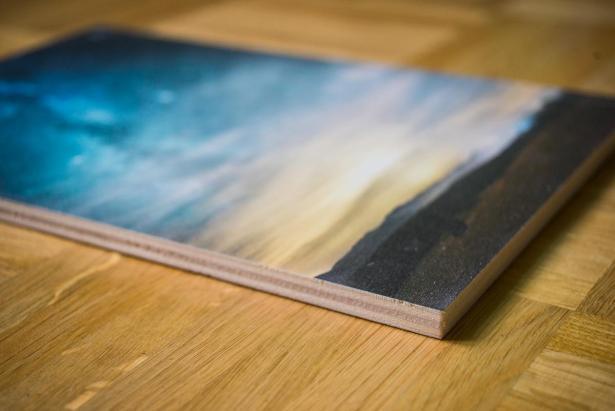 Fotodruck auf Holz, von der Seite