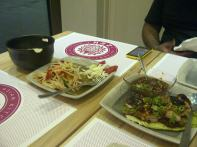 papaya salad, bbq chicken and jasmine rice