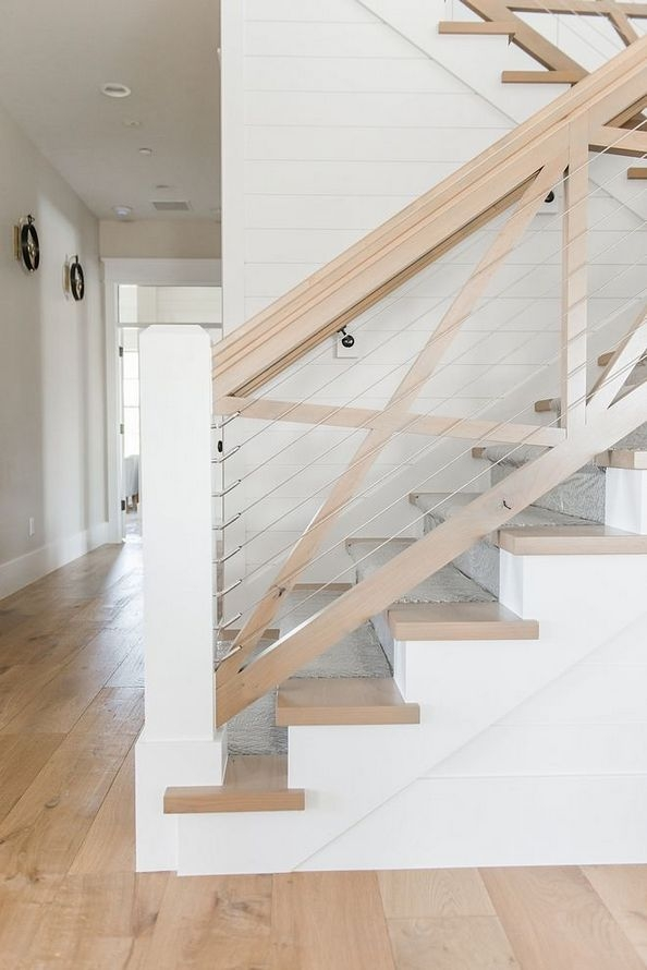 39 Where To Find Modern Farmhouse Staircase Pecansthomedecor | Modern Farmhouse Stair Railing | Contemporary | Design Small House | Simple 2Nd Floor Railing Wood Stairs Iron Railing Design | Vintage Farmhouse | Wire