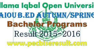 Allama Iqbal Open University Bed Result 2015-16