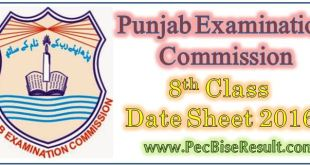 Punjab 8th Class Date Sheet 2016