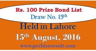 Prize bond list Rs. 100