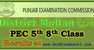 Multan PEC 5th 8th Class Result 2018