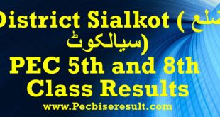 Sialkot PEC 5th and 8th Class Result 2018