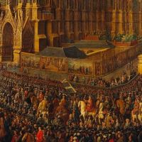 Quand on exposait les tapisseries dans la rue - petit détail du sacre de Louis XV