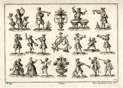 Martin Engelbrecht, Series of four scrap prints, eau-forte, 1730-1750, British Museum