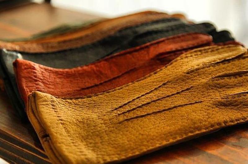 guantes de peccary en varios colores