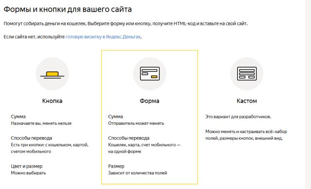 Яндекс.деньги - выбор формы