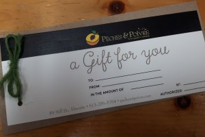 Picture of our gift certificate
