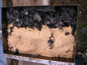 sciure de hêtre sur charbon de bois