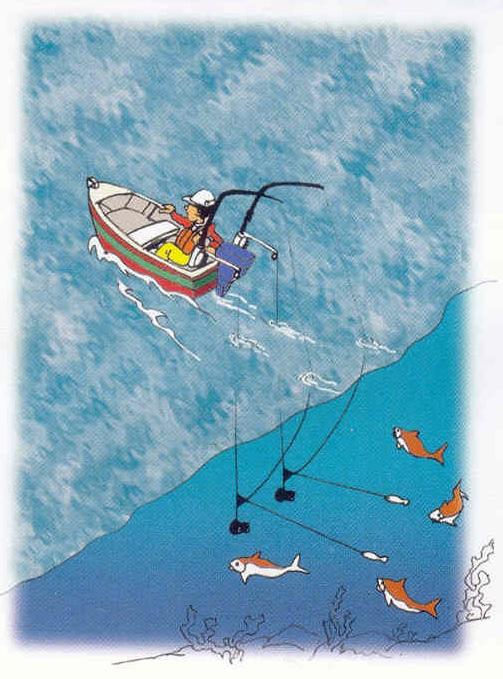 pêche 2 lignes traine bateau